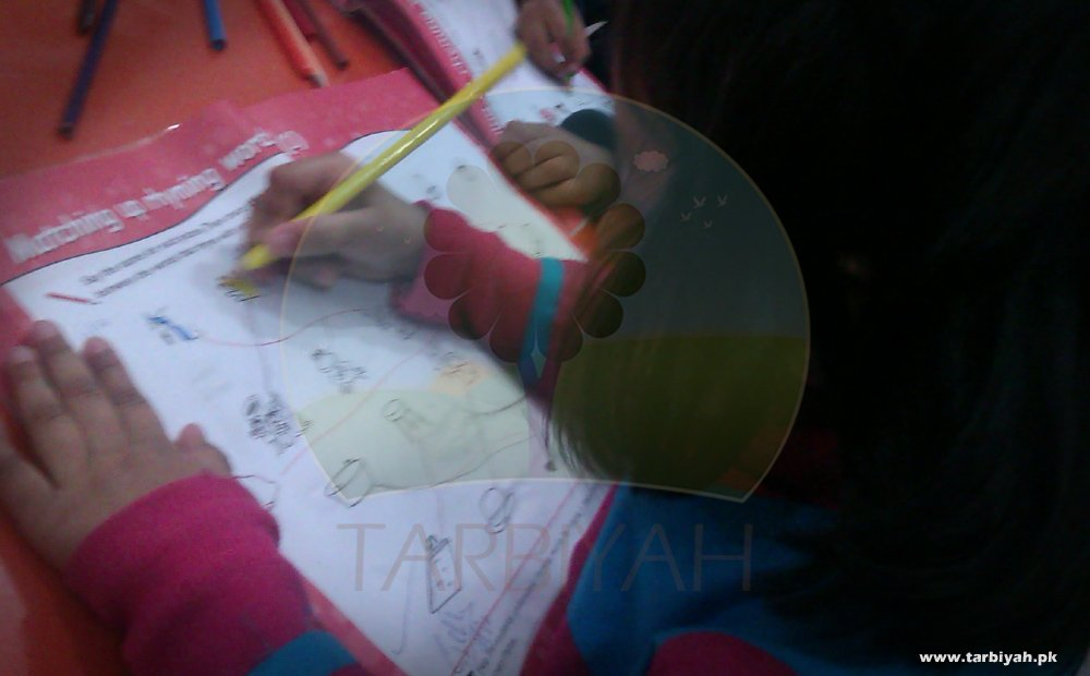 Girl doing colour activity