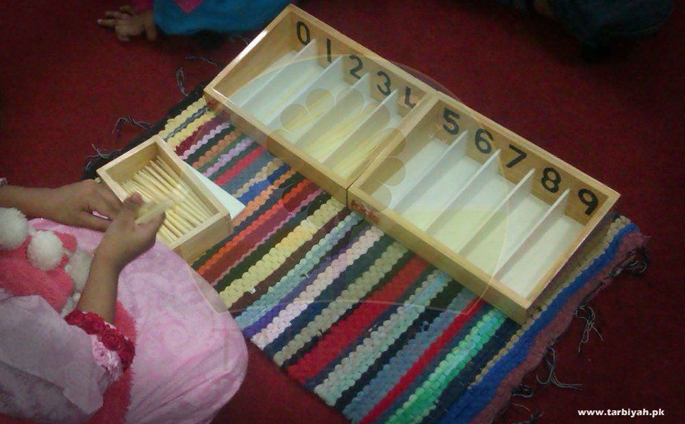 Girl using spindle box